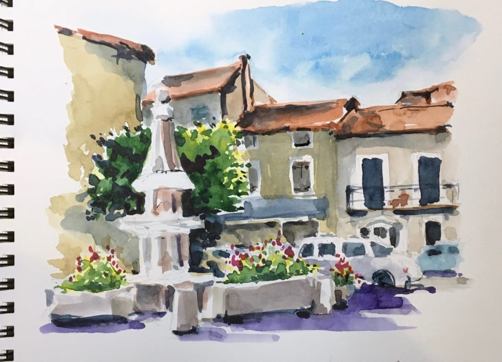 French Village Watercolour Sketch | An event open to all students, past and present to join me for a free event to celebrate our sketchbook adventures instead!
