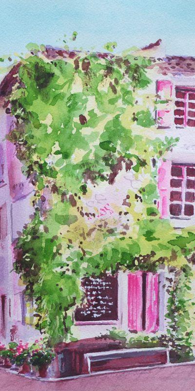 La Vie en Rose, La Petite Table, Village Castigno, Assignan 58cm x 47cm SOLD