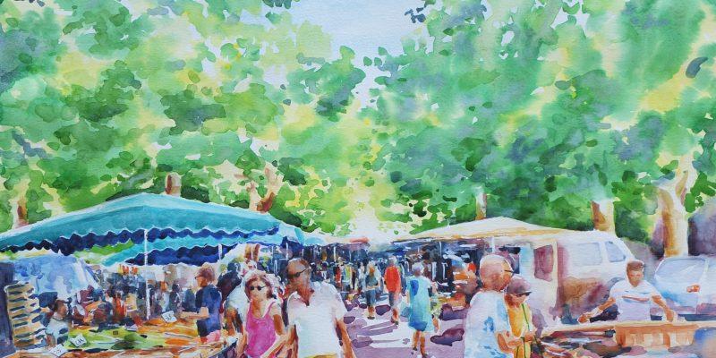 Sous les Platanes Verts Le marché à Saint Chinian    78cm x 65cm - FOR SALE