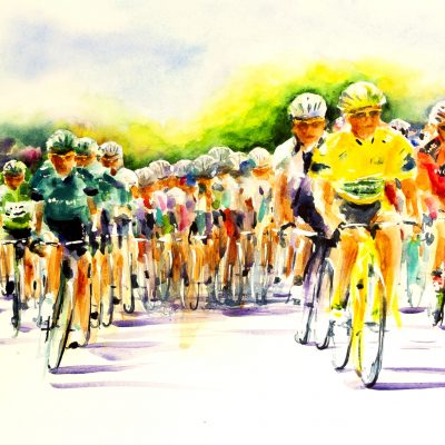 Juillet 2011 Tour de France, Aigne   En maillot vert Mark Cavendish (GB), en maillot jaune Thomas Voeckler (FR) Direct Watercolour on Monali paper  81cm x 66cm -SOLD