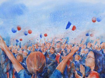 Allez Les Bleus!  15/7/2018 - Coupe du Monde, Bar 40, Quarante Direct Watercolour on Monali paper with Gouache and Brusho 82cm x 64cm 675€