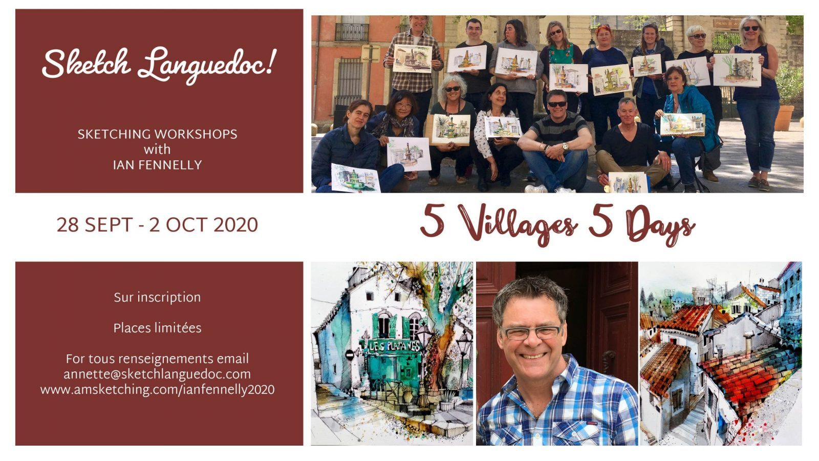 | Workshops in Bize-Minervois and the surrounding area with International Urban Sketchers Instructor and British Artist Ian Fennelly 28 September - 2 October 2020