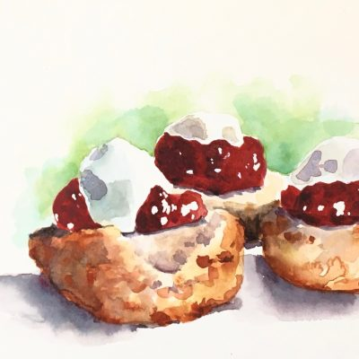 Watercolour sketch scones jam and cream