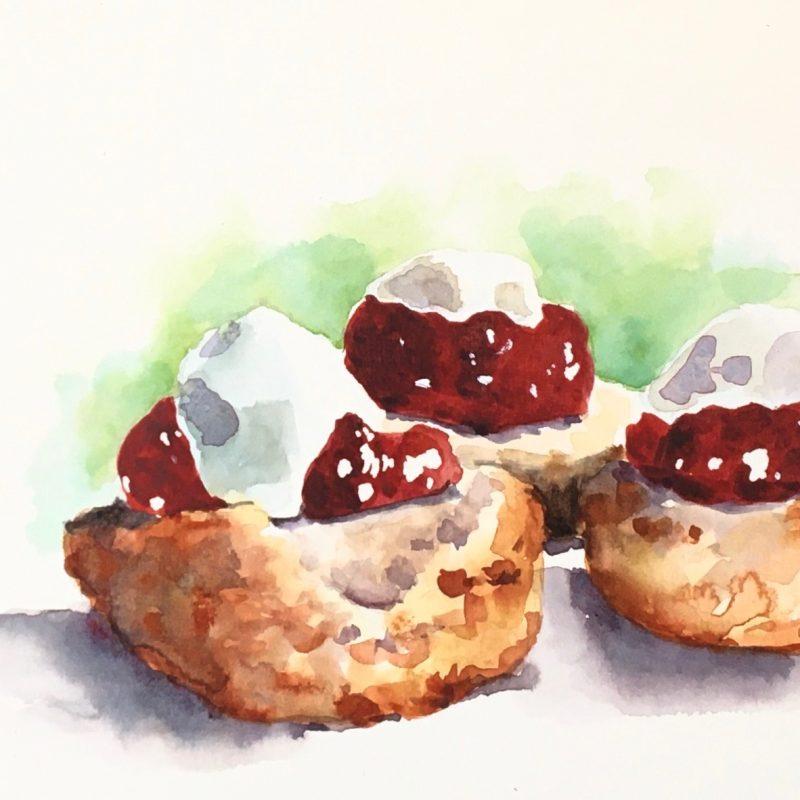 Watercolour sketch scones jam and cream