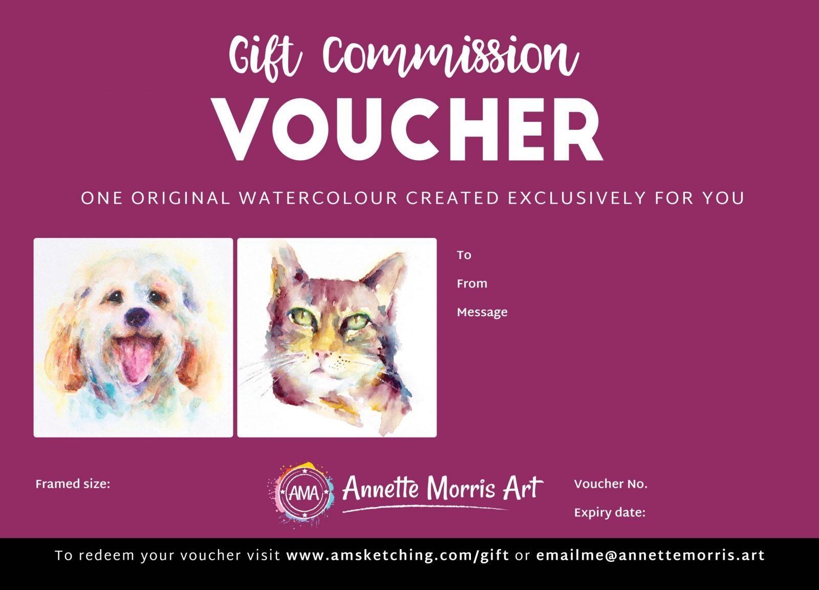 | Watercolour Sketch Commission Gift Certificates plus gift vouchers for workshops, art holidays and online courses